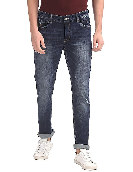 ff95ef9d5a Buy Men Slim Tapered Fit Stone Washed Jeans online at NNNOW.com