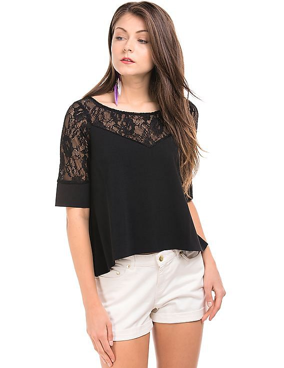 ELLE - Women  Flat 40% off By Nnnow | Lace Yoke Boxy Top @ Rs.1,799