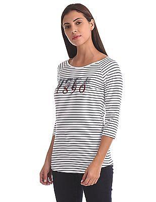 U.S. Polo Assn. Women Standard Fit Striped T-Shirt