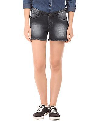 EdHardy Women Skinny Fit Distressed Denim Shorts