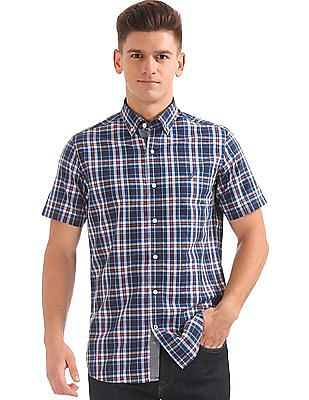 Nautica Short Sleeve Corded Plaid Shirt