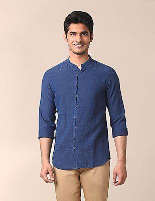 True Blue Mandarin Collar Patterned Shirt