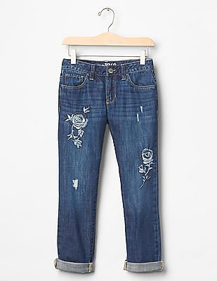 GAP Girls Blue 1969 Embroidered Boy Fit Jeans