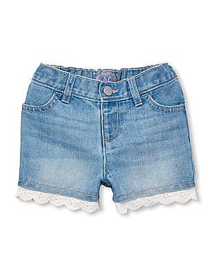 The Children's Place Toddler Girl Crochet Trim Shorts