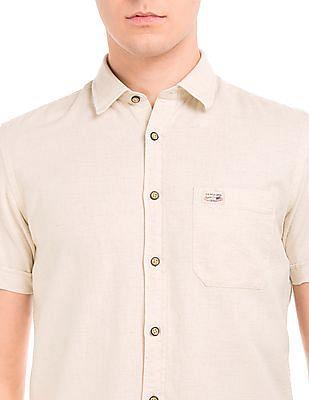U.S. Polo Assn. Denim Co. Short Sleeve Linen Cotton Shirt