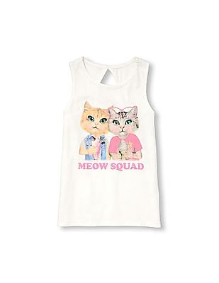 7e95c0bcd0a51 The Children s Place Girls Matchables Sleeveless Cutout Back Graphic Tank  Top