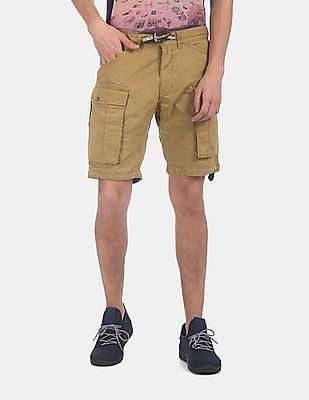 Flying Machine Men Brown Solid Cargo Shorts