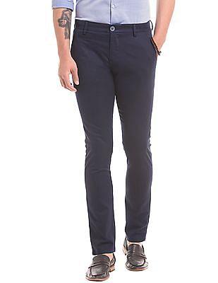 True Blue Floral Print Slim Fit Trousers