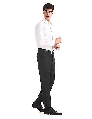 Arrow Black Flat Front Patterned Trousers