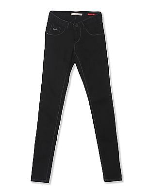 Flying Machine Women Mid Rise Rinsed Jeggings
