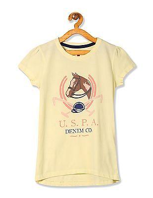 U.S. Polo Assn. Kids Girls Short Sleeve Printed T-Shirt