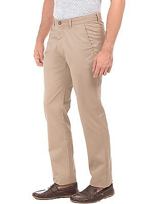 Arrow Sports Flat Front Solid Trousers