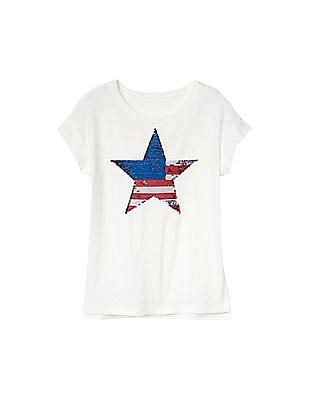 6502e93b2b92 Buy Girls Girls Flippy Sequin Graphic Tee online at NNNOW.com