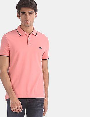 GAP Men Pink  Tipped Trim Pique Polo Shirt
