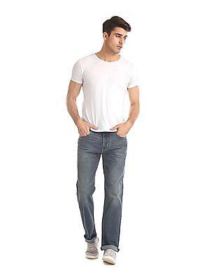 Flying Machine Blue Django Slim Straight Fit Washed Jeans