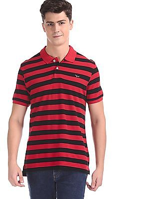 Flying Machine Red And Black Striped Pique Polo Shirt