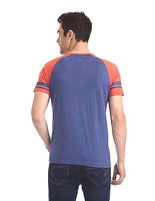 Colt Blue Round Neck Colour Block T-Shirt