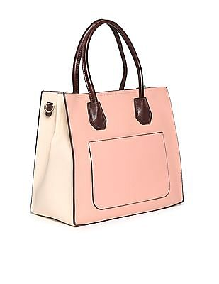 Stride Contrast Strap Textured Tote Bag