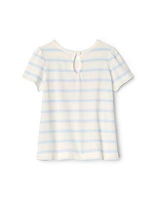 GAP Baby White Stripe Logo T-Shirt