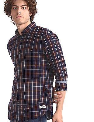 Flying Machine Brown Button Down Collar Check Shirt