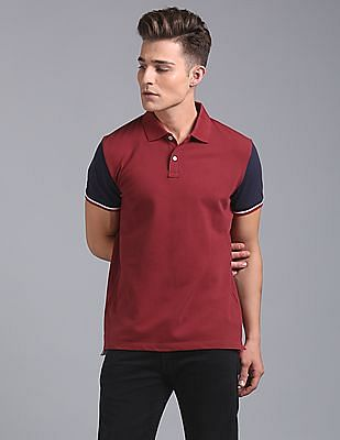 GAP Men Red Color Block Tipped Polo