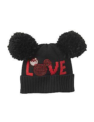 GAP Girls Black Disney Mickey Mouse Pom-Pom Hat