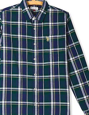U.S. Polo Assn. Kids Green Boys Check Cotton Shirt