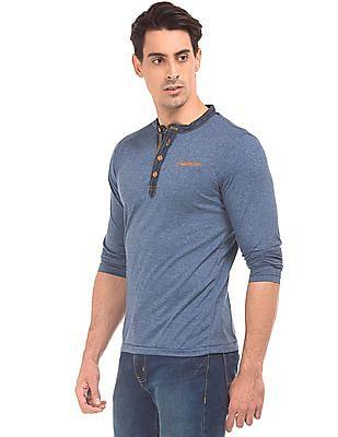 Cherokee Long Sleeve Heathered Henley T-Shirt
