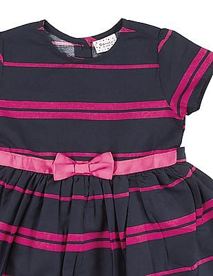 Donuts Girls Striped Fit And Flare Dress