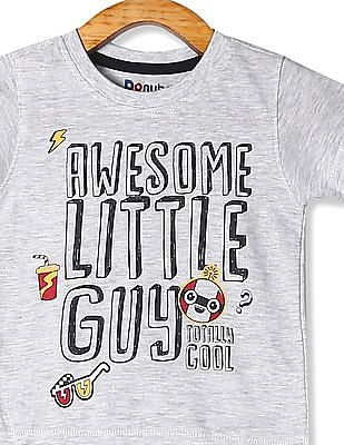 Donuts Grey Boys Front Print Crew Neck T-Shirt