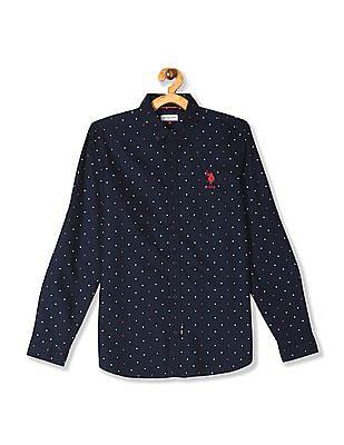 U.S. Polo Assn. Kids Blue Boys Star Print Button Down Shirt