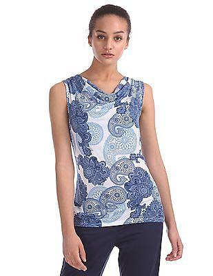 U.S. Polo Assn. Women Cowl Neck Printed Top