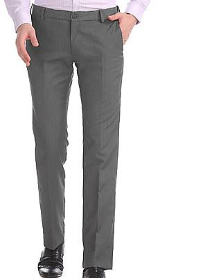 Excalibur Grey Mid Rise Flat Front Trousers
