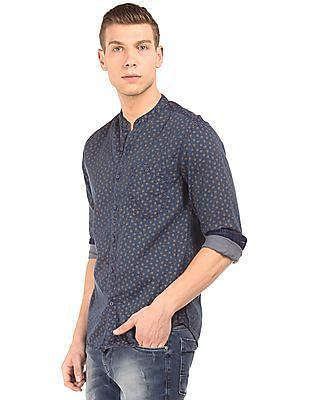 Ed Hardy Mandarin Collar Printed Shirt