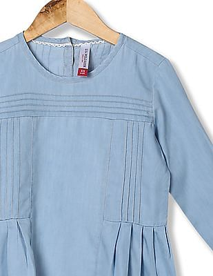 U.S. Polo Assn. Kids Girls Tucked Front Solid Top