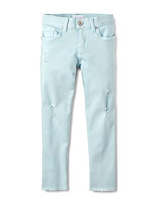 The Childrens Place Girls Solid Distressed Jeans