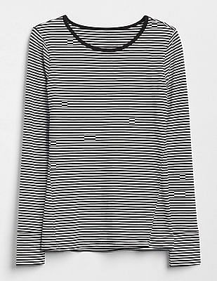 GAP Long Sleeve Stripe Crewneck T-Shirt
