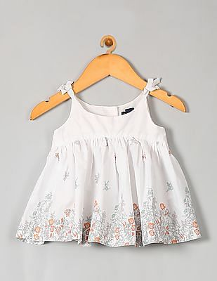 GAP Baby White Garden Border Bow Top