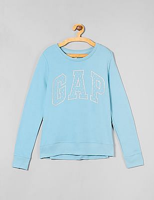 GAP Girls Glitter Print Full Sleeve Sweatshirt