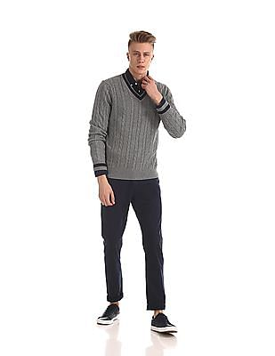 Nautica Cable Knit Tipped V-Neck Sweater