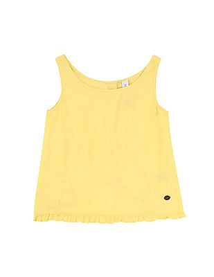 U.S. Polo Assn. Kids Girls Ruffled Hem Textured Top