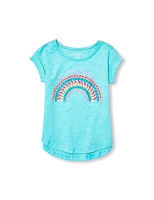 The Children's Place Girls Short Rolled Sleeve Embellished Graphic Hi-Low Top