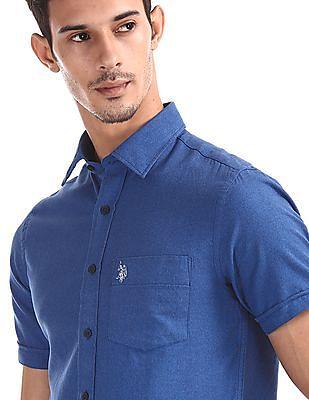 U.S. Polo Assn. Blue Short Sleeve Tailored Regular Fit Shirt