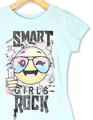 The Children's Place Girls Short Sleeve 'Smart Rock' Science Emoji Graphic Tee