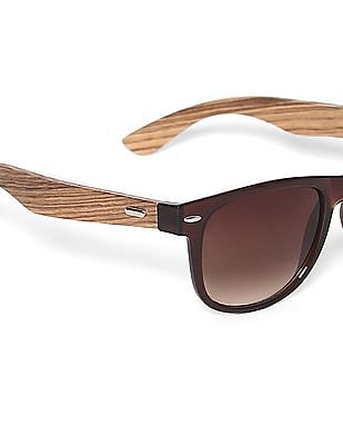 Flying Machine Brown Square Frame Bamboo Temple Sunglasses