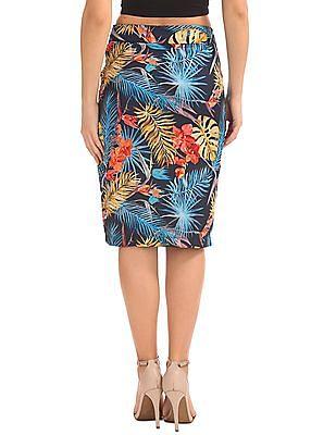 Elle Tropical Print Pencil Skirt
