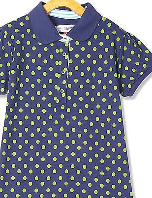 U.S. Polo Assn. Kids Girls Polka Dot Print Short Sleeve Polo Shirt