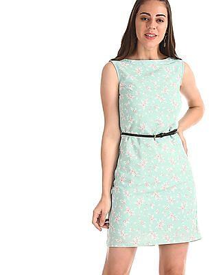 Elle Studio Green Floral Print Shift Dress