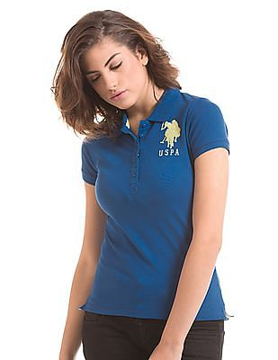 U.S. Polo Assn. Women Solid Regular Fit Polo Shirt