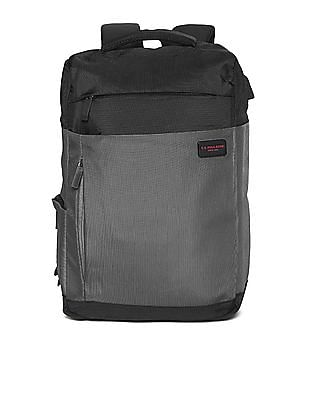 U.S. Polo Assn. Grey And Black Colour Block Laptop Backpack